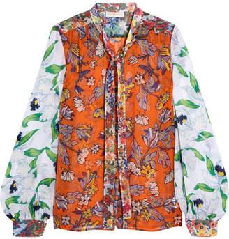 Tory Burch Kia Pussy-bow Floral-print Silk-chiffon Blouse - Orange
