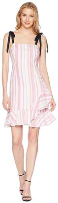 Donna Morgan Striped Linen Fit and Flare Dress with Asymmetrical Ruffle Skirt Women's Dress