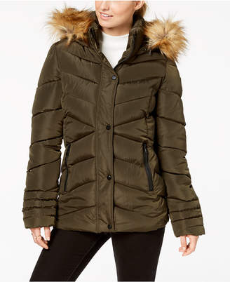 Madden-Girl Juniors' Faux-Fur-Trim Puffer Coat