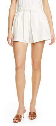 Frame Belted Linen & Cotton Shorts