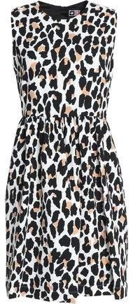 Pleated Leopard-Print Crepe Mini Dress