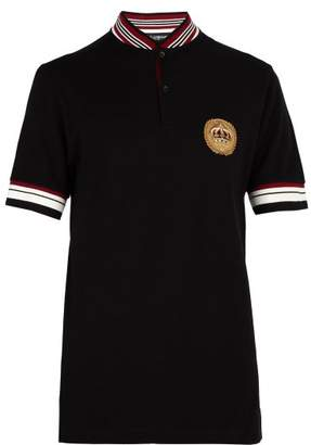 Dolce & Gabbana Appliqued Cotton Pique Polo Shirt - Mens - Black