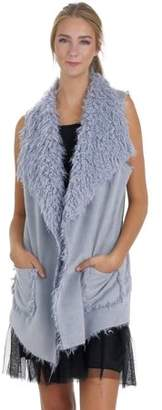 MELODY Women Faux Leather Loose Fit Vest with Faux Shaggy Fur (LIGHT BLUE, LARGE)