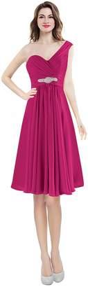 CaliaDress Women One Shoulder Bridesmaid Dress Prom Evening Gowns Short C273LF US