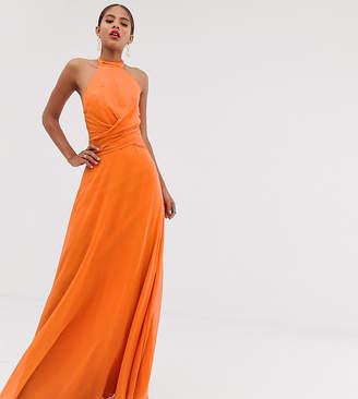 1f2768b9c Asos Design DESIGN Tall maxi dress with high neck and drape waist detail