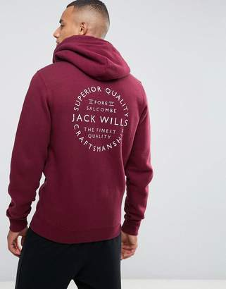 Jack Wills Ederton Zip Up Hoodie With Back Print In Damson