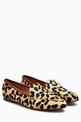 Next Womens Leopard Print Softee Leather Loafers