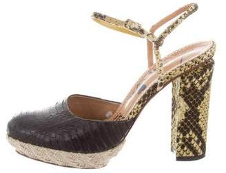 Lanvin Embossed Ankle Strap Sandals