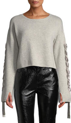 Sablyn Ruby Lace-Up Cropped Cashmere Sweater