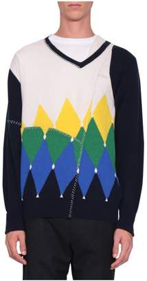 Ballantyne Argyle Cashmere Cut-out Sweater