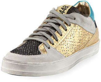 P448 Queens Low-Top Sneakers in Glitter Mesh & Embossed Leather