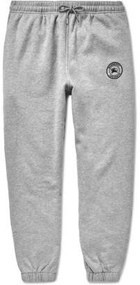 Burberry Embroidered Melange Fleece-Back Cotton-Blend Jersey Sweatpants - Gray