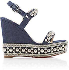 Christian Louboutin Women's Rondaclou Denim Platform-Wedge Sandals - Version Blue