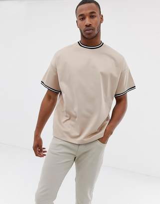 Asos DESIGN oversized longline t-shirt with contrast tipping in poly tricot