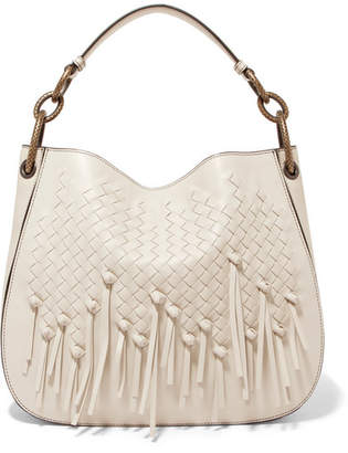 Bottega Veneta Small Fringed Intrecciato Leather Tote - White
