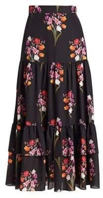 The Endless Summer Borgo de Nor Borgo de Nor Women's Emme Crepe Floral Maxi Skirt - Black - Size UK 12 (8)