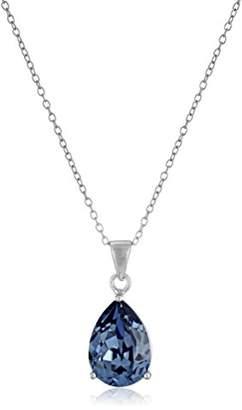 Swarovski Sterling Silver Crystal Clear Teardrop Pendant Necklace