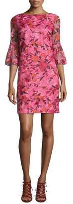 Badgley Mischka 3/4-Sleeve Floral Silk Shift Dress, Pink $475 thestylecure.com