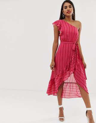 Talulah Candy stripe one shoulder midi dress