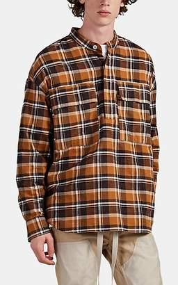 Fear Of God Men's Oversized Plaid Cotton Flannel Henley Shirt - Brown