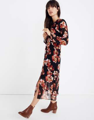 Madewell Shirred Midi Dress in French Rose