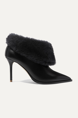 Malone Souliers Tomi 85 Shearling-trimmed Leather Ankle Boots - Black