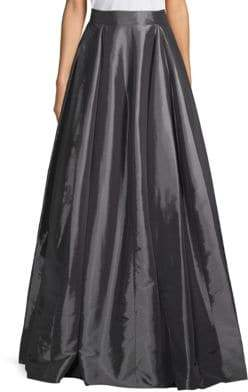 Halston Pleated Taffeta Maxi Skirt