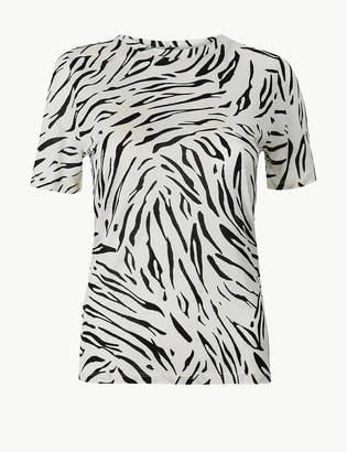 Marks and Spencer PETITE Animal Print Short Sleeve T-Shirt