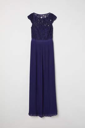 H&M Pleated Long Dress - Blue