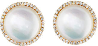 Roberto Coin 18k Rose Gold Diamond & Mother-of-Pearl Button Earrings