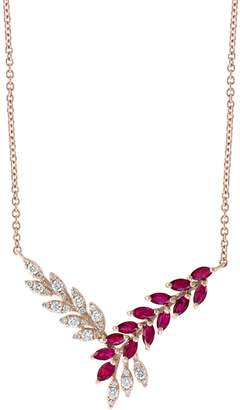 Effy 14K Rose Gold, Ruby 0.38 TCW Diamond Pendant Necklace