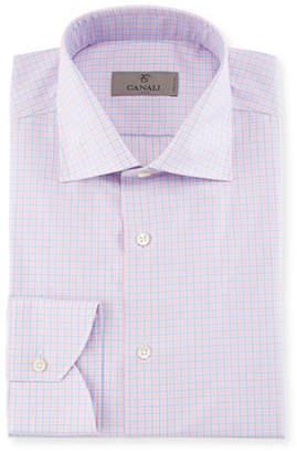 Canali Check Dress Shirt, Pink/Blue