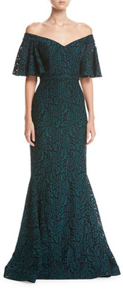 Rickie Freeman for Teri Jon Off-the-Shoulder 1/2-Sleeve Lace Mermaid Gown $760 thestylecure.com