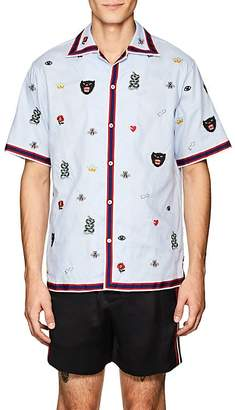 Gucci Men's Embroidered Cotton Bowling Shirt