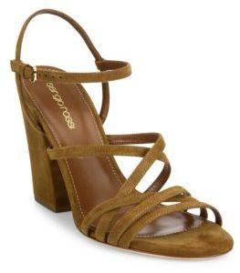 Sergio Rossi Alek Suede Block Heel Sandals