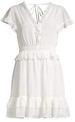 Rebecca Taylor Women's Ruffled Crepe Chiffon V-Neck Dress