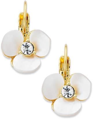 Kate Spade Earrings, Gold-Tone Cream Disco Pansy Flower Leverback Earrings