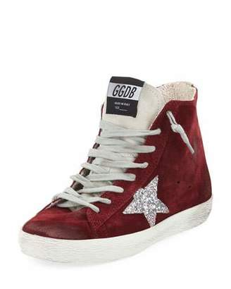 Golden Goose Francy Suede High-Top Sneakers with Glitter Star