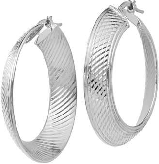 Italian Gold Graduated Hoop Earrings 14K