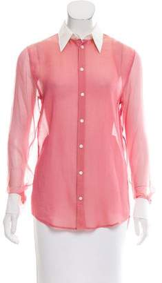 Thomas Pink Silk Mesh Top