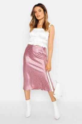 a7e066b240e9 boohoo Leopard Print Satin Bias Cut Slip Midi Skirt