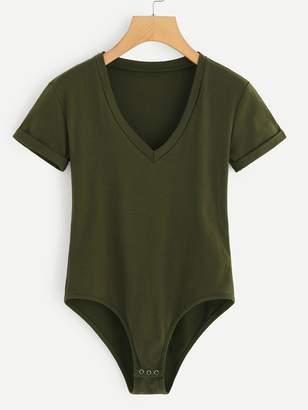 Shein Plus Army Green V Neck Bodysuit