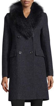 Fleurette Double-Breasted Long-Sleeve Wool Coat w/ Fox Fur