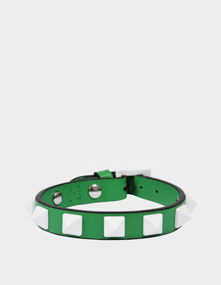 Valentino Free Rockstud Small Bracelet in Peppermint Green Nappa Leather