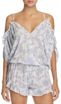 Surf Gypsy Paisley Cold Shoulder Romper Swim Cover-Up