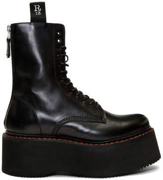 R 13 Black Double Stack Platform Lace-Up Boots