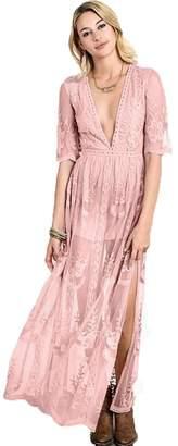 Eleter Women's Deep V-Neck Lace Romper Short Sleeve Long Dress(L,)