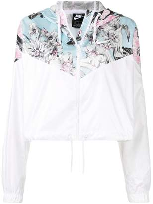 Nike sports cropped floral jacket