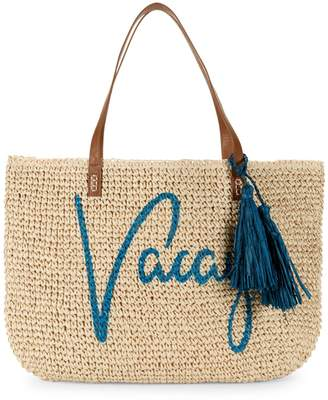 Saks Fifth Avenue Marabelle Paper Straw Vacay Graphic Tote