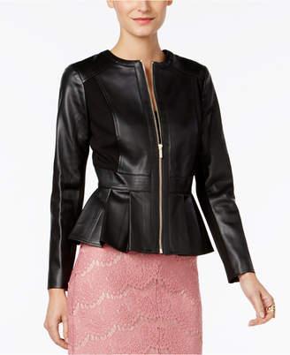 Thalia Sodi Faux-Leather Peplum Jacket